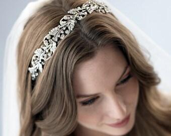 Silver Leaf Headband, Floral Rhinestone Headband, Rhinestone Leaf Headband, Nature Inspired Headband, Silver Wedding Headband ~TI-3255