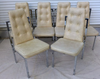 Super SALE! 6 Tufted Cream Dining Chairs with Chrome Frames 70s Cal Style High Back Chairs Mid Century Modern Baughman Era Hollywood Regency
