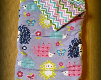 """Doll Sleeping Bag and Pillow Set Hedghog & Chevron American Made to Fit Your 18"""" Girl Doll"""
