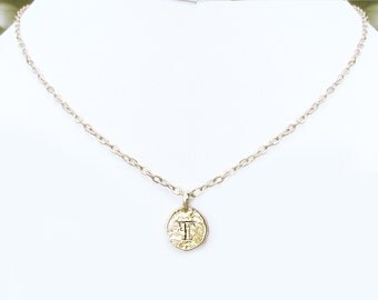 T coin necklace, T personalized teen jewelry, T necklaces for women, gold plated u monogram initial choker, unique T sweet 16 birthday gifts