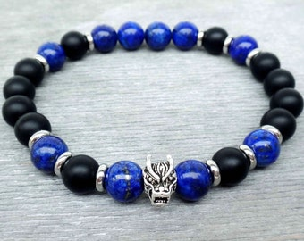 Dragon bracelet Mens bracelet mala Black onyx, Sterling silver dragon head & lapis lazuli mala bracelet Mens spiritual bracelet Gift for him