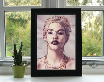Stitched Portrait Print - Ashley Portrait - Machine Embroidery - Print - Illustration - Wall Art - Unframed