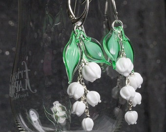 Lily-of-the-valley sterling silver long earrings,   lampwork sra, spring