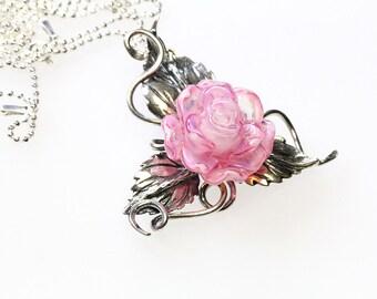Sterling Silver Pendant  Pink Rose, lampwork, sterling silver 925 sra