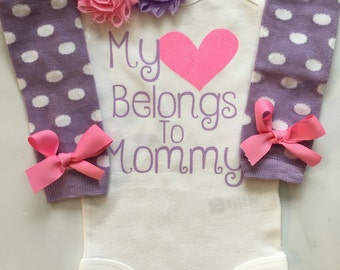 Baby Girl outfit - Newborn baby clothes - My heart Belongs to Daddy -My Heart Belong to Mommy- coming home outfit-Preemie outfit-PURPLE PINK