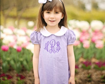 Girls Monogrammed Purple Gingham A-line Dress with Peter Pan Collar can be worn year round! Ships in 3 Days with a Free Hairbow! Sizes 3m-5T