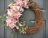 Hydrangea Wreaths, Purple Hydrangeas, Spring Wreaths, Purple Door Decor, Spring Hydrangeas, Grapevine Wreath, Easter Wreaths, Easter Decor