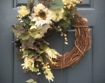 White Pumpkin Wreath, Fall Pumpkins, White Pumpkin Decor, Fall Decorating, Sunflower Wreaths, Fall Sunflowers, Fall Door Decorations