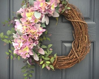 Hydrangea Wreaths, Purple Hydrangeas, Spring Wreaths, Purple Door Decor, Spring Hydrangeas, Grapevine Wreath, Easter Wreaths, Easter Decor