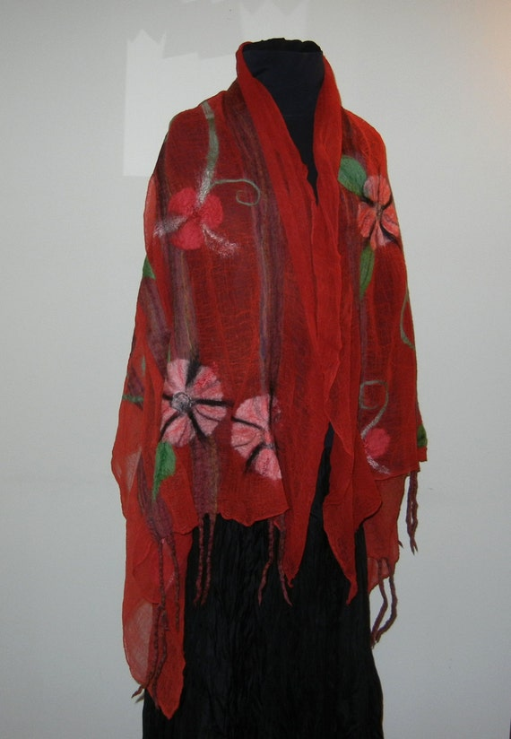 Red and peach flowers on hand dyed cotton scrim - Functional Art Shawl - tencel - silk - merino - bamboo - Item 12-6034