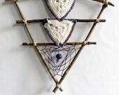 Triangle crochet motif dreamcatcher wall hanging - bohemian rustic tribal boho shabby chic natural branch decoration fiber art home decor