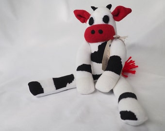 Clover Cow. Handmade sock cow, sock monkey, soft plush cow, toy cow for children. Softie.