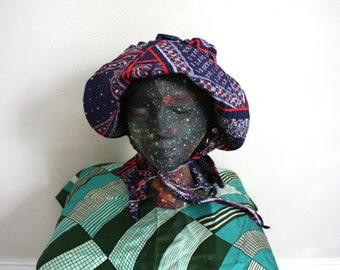 Vintage Bonnet Hat. Womens Little House On The Prairie Bonnet. Blue And Red Folk Art, Amish, Cottage Chic Bonnet Hat.