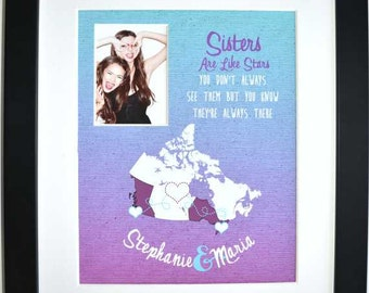 Unique gift for sisters, bridesmaid, sister birthday gift, always sisters forever friends, photo gift, print framed or canvas option