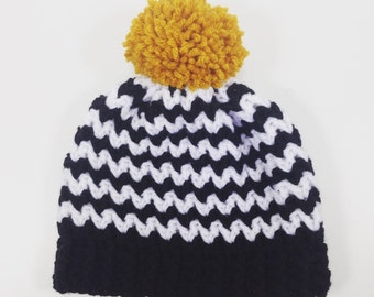 Black and White Chevron Toque, Beanie, Hat 6- 12 Months