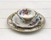 VERY RARE Mismatched Hand Painted Summery Mixed Multicoloured Floral Vintage German LOW Teacup and Saucer Trio Set