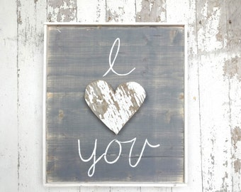 I love you rustic wooden heart rustic wood sign