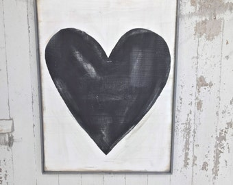 Big black rustic wood heart sign