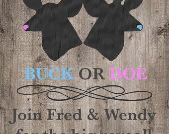 Baby Gender Reveal Buck or Doe Invitation