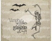 Halloween Dancing skeleton clip art Vampires Instant digital download image transfer for iron on burlap decoupage pillow card tote No. 857