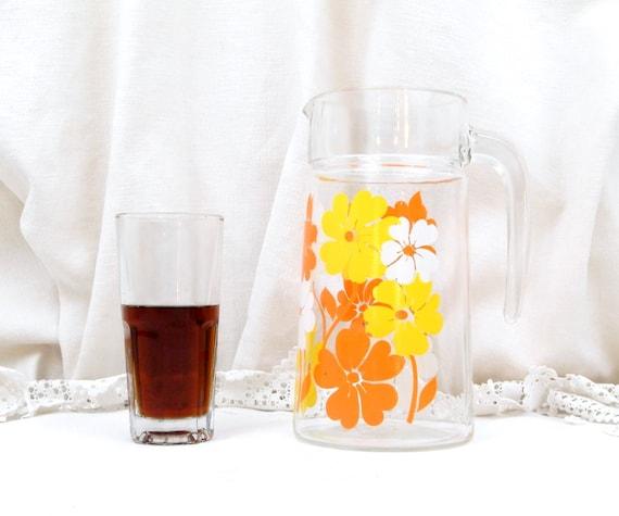 Vintage French Glass Mid Century 1960s Flower Pattern Drinks Lemonade Pitcher / Jug, Retro Vereco Kitchenware, Arcopal Drinkware  France