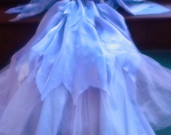 Custom made fairie princess nymph sheer flowing silk chiffon stage party fairy dress wings and wand