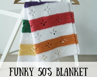 Funky fifties retro blanket: crochet pattern (PDF), retro blanket crochet pattern, crochet blanket pattern, retro crochet blanket