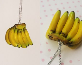 Banana Bunch Necklace - Fruit Jewelry - Fruit necklace - Miniature Food Jewelry