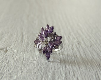 Multi-stone Amethyst Ring with Diamonds/Purple Gemstone and Diamond Ring/Amethyst Cluster Ring/ Cocktail Ring/Sterling Silver Statement Ring