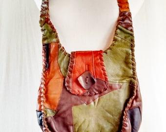 Vintage Autumn Leather Patchwork Purse