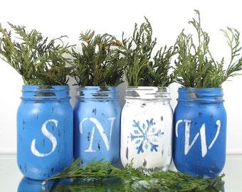 SNOW // Winter Decor // Painted Mason Jar Decor // Winter Decorations // Blue Mason Jars // Colorful Home Decor // Room Decorations