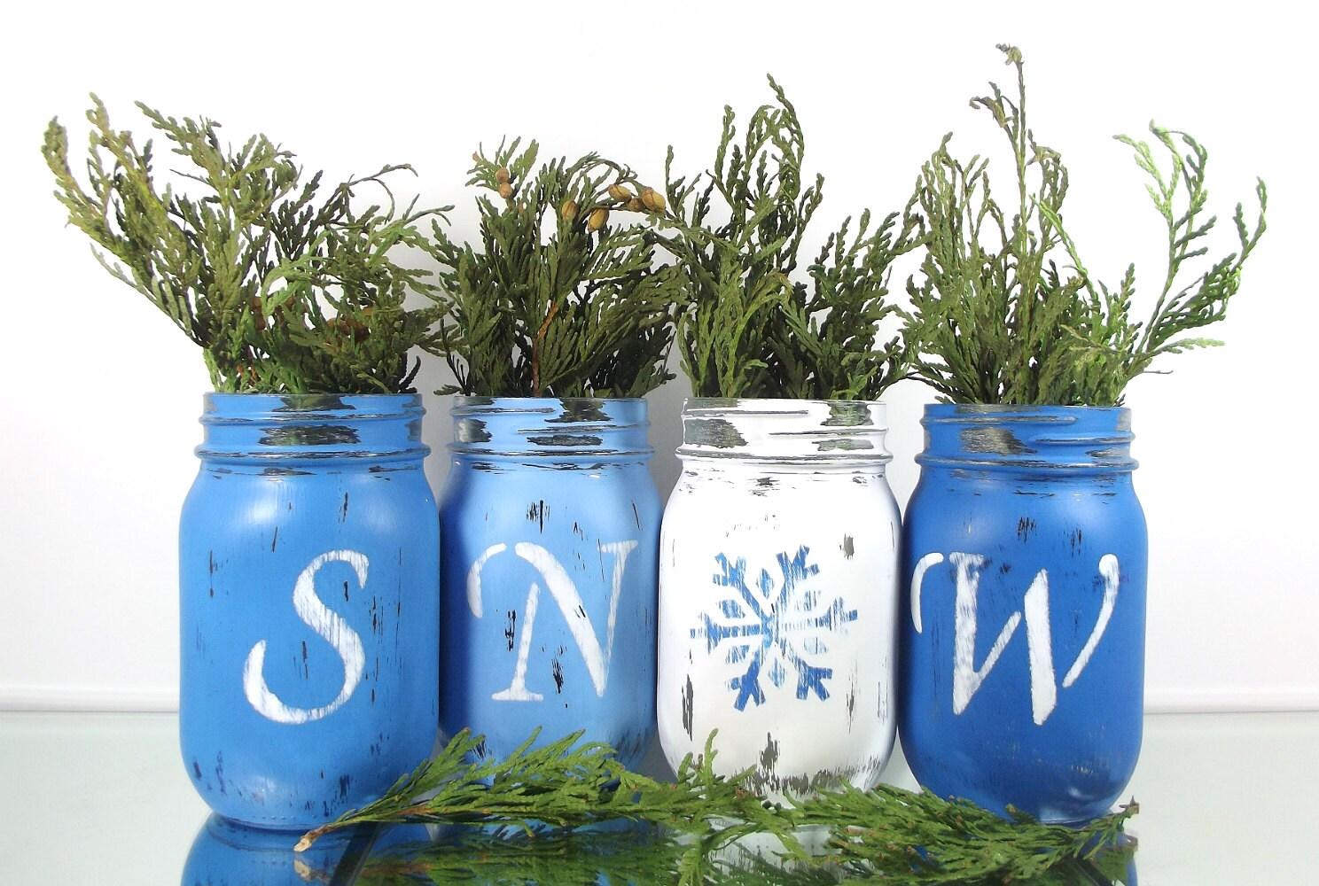 snow winter decor painted mason jar decor winter. Black Bedroom Furniture Sets. Home Design Ideas