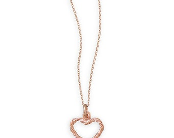 "16"" + 2"" 14K Rose Gold Plated Twist Design Heart Necklace"