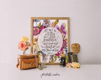 Printable Wisdom Bible verse print Psalm 108:18, Hand lettered print, calligraphy print, bible verse printable art, wall art print