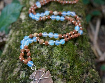 Opal & Rudraksha Seed Wild Mala with Wire-Wrapped Arrowhead