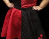 Retro Red and Black Harley Quinn 50's Style Skirt Top Different Options Plus Size 4X