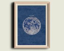 Full Moon Print  Poster Vintage Image  to Frame