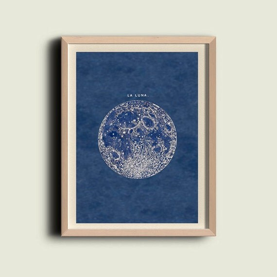 Full Moon Print  Poster Vintage Image  to Frame