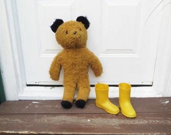 "70s Eden Teddy Bear with Yellow Rain Boots 20"" RARE Collectible Large Standing PADDINGTON Bear Plush Toy"