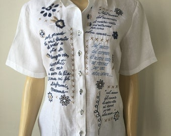 Linen embroidered blouse vintage white top Italian embroidered words in blue tailored short sleeves European chic size M chest 39 inches