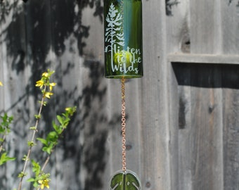 Listen to the Wilds Wine Bottle Windchime - Recycled Outdoor Glass Etching California Beach Decor Chimes Rememberance