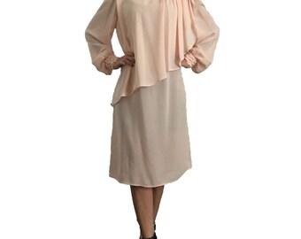 Light Pink Sheer Ruffle Dress/ Chiffon Dress/ Peach Dress/ Formal Dress/ Party Dress/ Church Dress/ Elegant Dress/ Draping Dress/ Drapped
