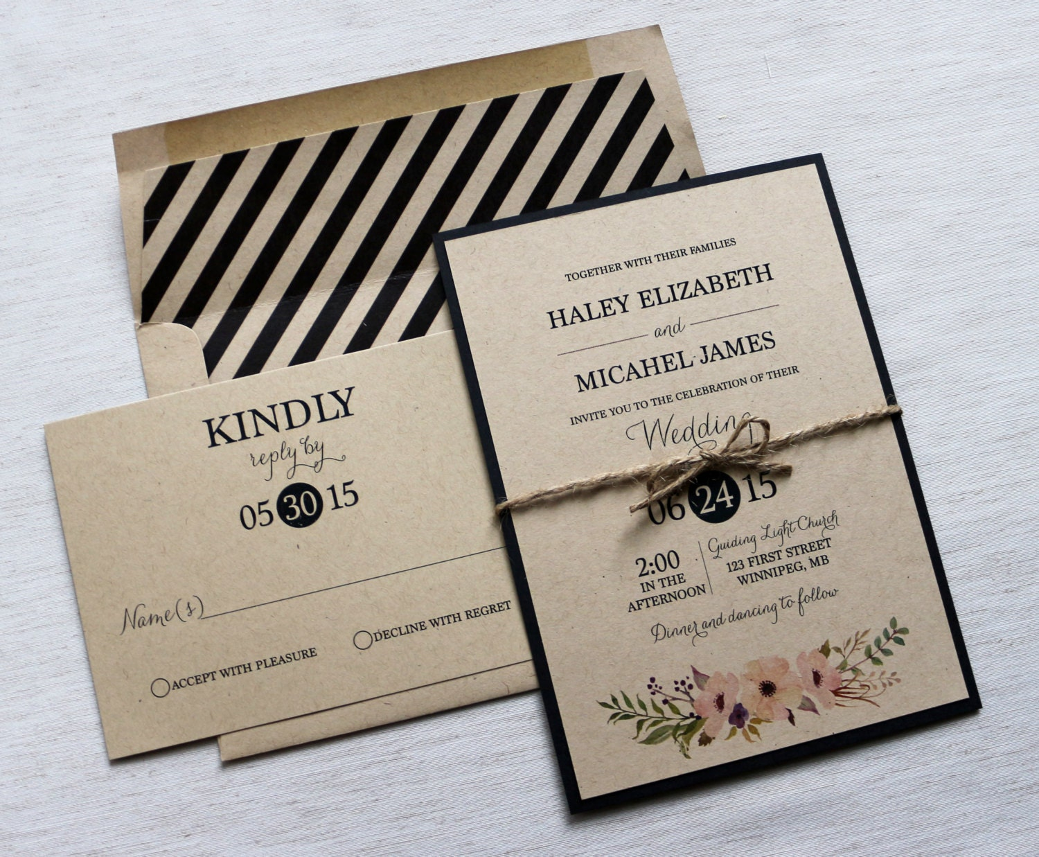 Modern Wedding Invitation Kraft Wedding Invitation Rustic