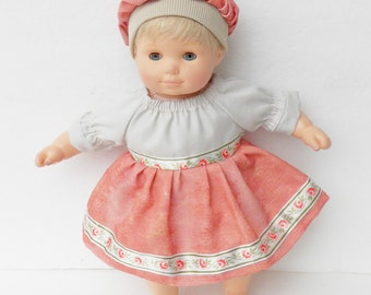 """bitty baby clothes doll 15"""" twin or 18"""" girl, FREE SHIPPING, spring, easter, handmade adorabledolldesigns, peach peasant dress & tam Hat"""