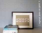 wedding location coordinates framed art