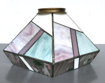 vintage slag glass shade pendant light chandelier pastels lavender and sky blue pentagon