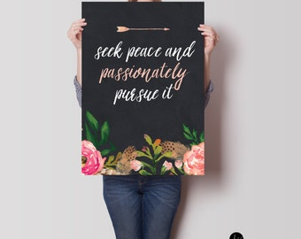 Seek Peace Poster, Framed Print, or Canvas | Psalm 34:14