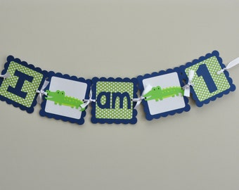 Alligator High Chair Banner I am 1, Preppy Alligator Party