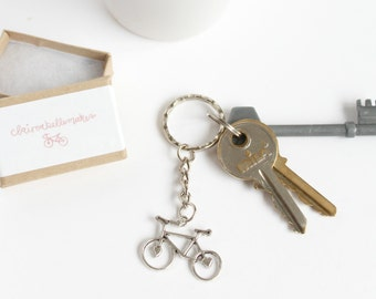 Silver Bicycle Keyring, Bicycle Keychain, stocking filler stuffer