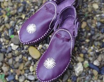 Hand Sticthed Purple Leather Sandals, Womens Sandals, Mens Sandals, Womens Shoes, Mens Leather Sandals, Hippie Sandals, Boho Sandals
